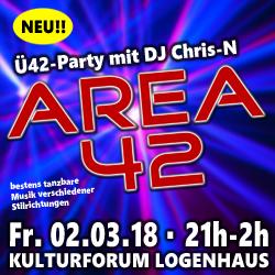 AREA 42 - Ü42-Party mit DJ Chris-N @ Kulturforum Logenhaus | Erlangen | Bayern | Deutschland